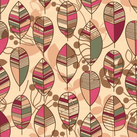 Autumn leaves seamless pattern retro style vector  Stock Vector - 21646017