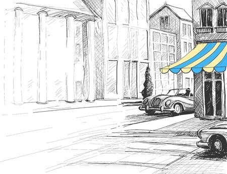 Retro stad schets, stedelijke architectuur, straat en auto's