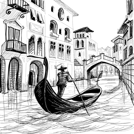 Gondola in Venice vector sketch Illustration