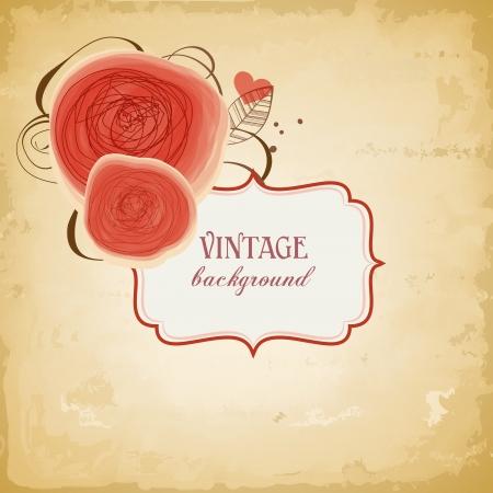 etiquette: Vintage background, label with red roses design  Illustration