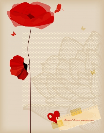 Floral background, poppies and butterfly romantic card, retro style  Vector