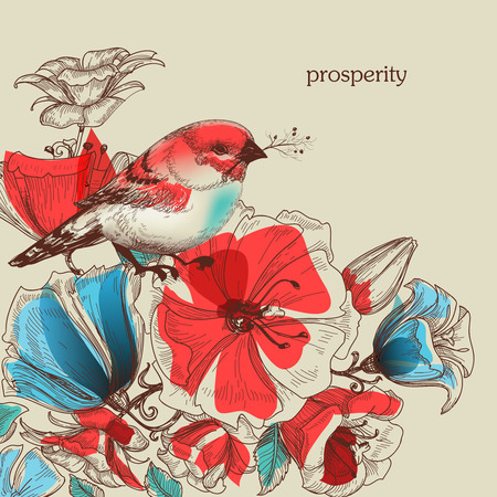 Flowers and bird vector illustration, greeting card, prosperity symbol  Vector