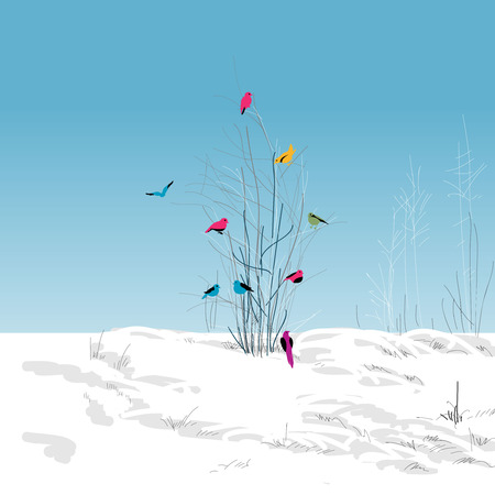 Winter landscape, colorful birds in the tree Vector