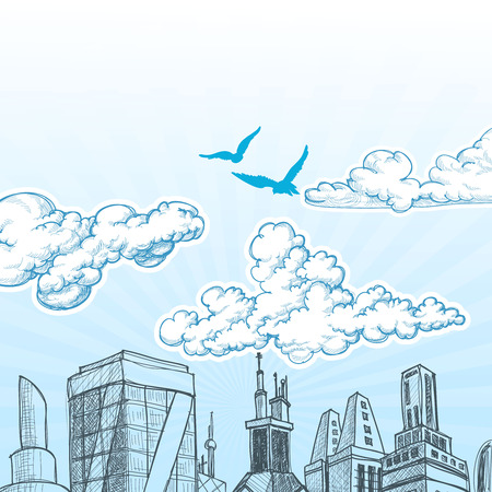 scapes: City sky vector Illustration