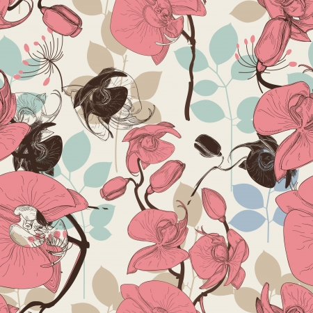 Retro pattern flower orchid vector Vector