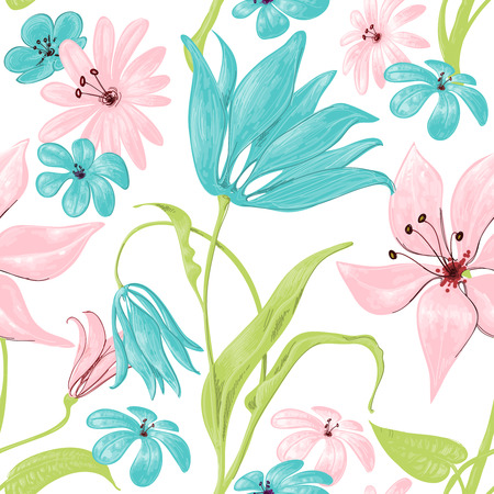 Floral seamless pattern or background, retro style over white  Vector