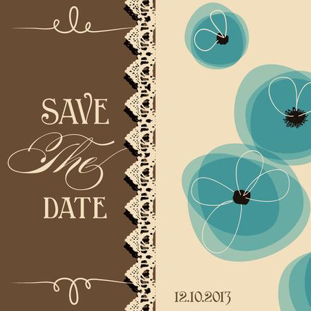 アクアマリン: 日付のエレガントな招待、花柄のデザインを保存します。