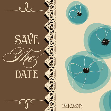 and invites: Save the date elegant invitation, floral design  Illustration