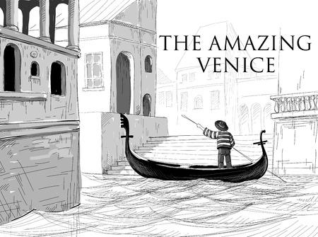 ガイドヴェネツィア運河、ゴンドラのスケッチ  イラスト・ベクター素材