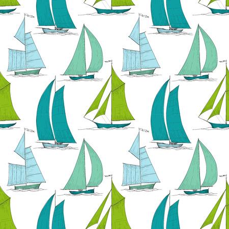 Boats on water seamless pattern marine vector Vector Illustration