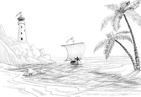 Boceto del paisaje marino, faro, barco y palmeras
