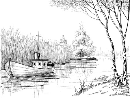 pencil plant: Nature sketch, boat on river or delta  Illustration