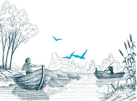 Fisherman in boat sketch, delta, river or sea background in vector  Illustration