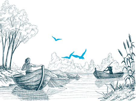 Fisherman in boat sketch, delta, river or sea background in vector  Vector