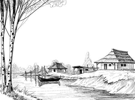redes de pesca: Boceto Pueblo de pescadores Vectores