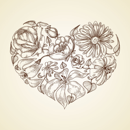 Heart of flowers graphic icon  Illustration