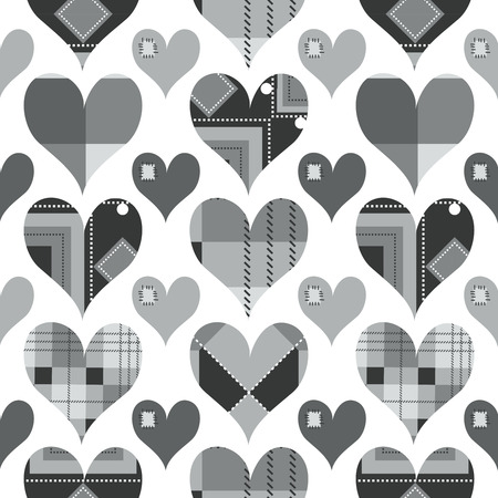 Hearts seamless pattern, black and white with grey shades  Vector