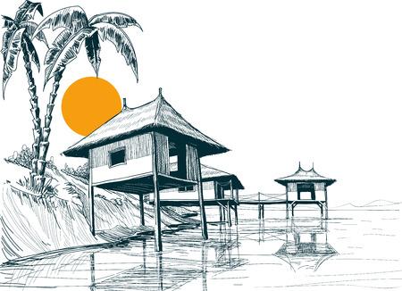 水、または水のバンガローのスケッチに建てられた家  イラスト・ベクター素材