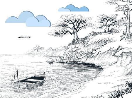 Boceto del paisaje marino de verano, olivos en tierra, el pequeño bote en el agua