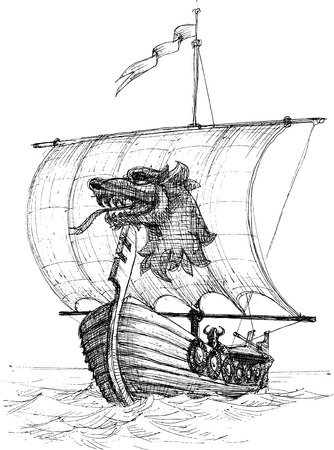 Long boat drakkar sketch  Vector