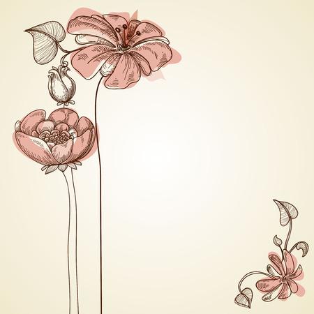 vintage floral: Flowers design for greeting cards