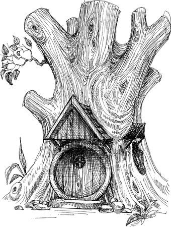 Pequeña casa en el árbol hueco boceto Ilustración de vector