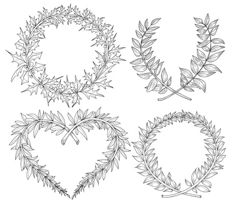 Collection with heart, wreaths, laurel, space for text. Hand drawn in vector format  Vector
