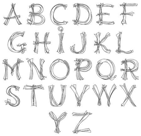 alphabetical letters: Sketch alphabet pencil drawing retro look for design Illustration