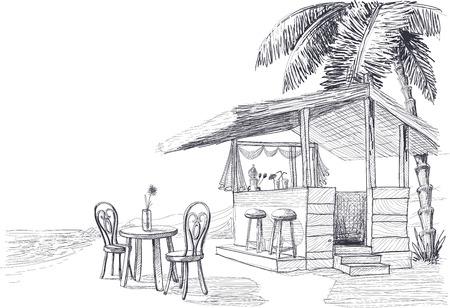 outdoor dining: Beach bar sketch
