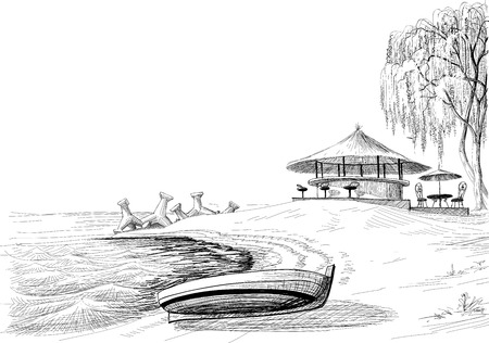round chairs: Beach bar sketch boat on shore  Illustration