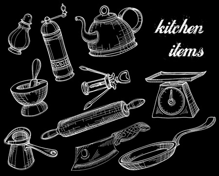 copas: Colecci�n de herramientas de cocina, blanco sobre negro garabatos