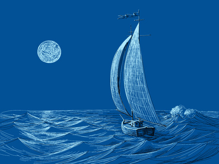 sailing: Night sea view sail boat in the moonlight Illustration
