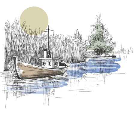 lake shore: Boat on lake, river  Illustration