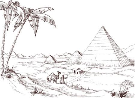 Een wandeling in de woestijn schets