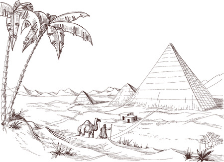animales del desierto: Un paseo en el boceto del desierto Vectores