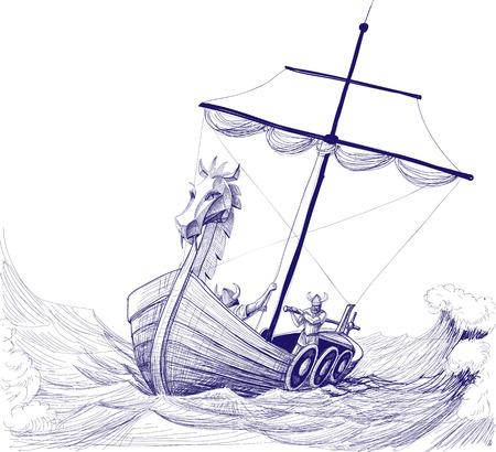 Long boat drakkar pencil drawing Vectores