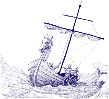 Long boat drakkar pencil drawing Vector