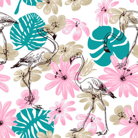pink flamingo: Flamingo and flowers exotic garden seamless pattern