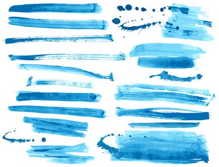 Aquarelle encre bleue coups de pinceau collection