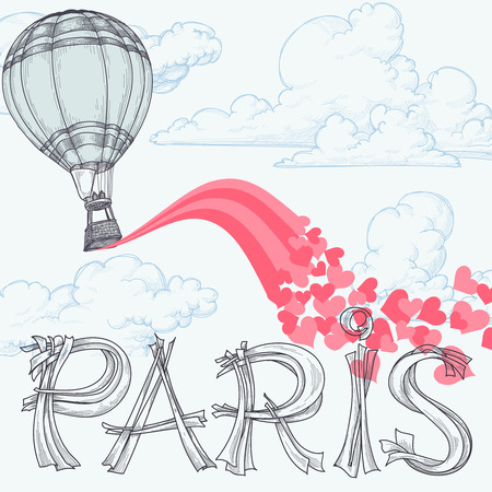 typo: Paris, city of love concept, hot air balloon, pink hearts over the sky and Paris original lettering  text