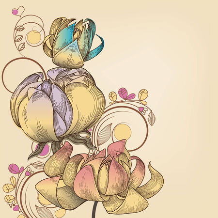 Retro floral, place for text  Vector