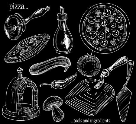 lavagna: Strumenti di pizza e ingredienti set Vettoriali