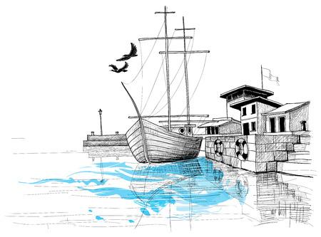 Harbor sketch, boat on shore illustration