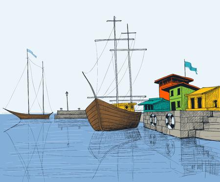 Fishing boats in port illustration