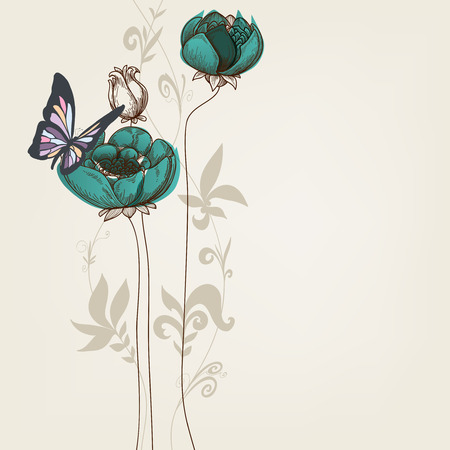 Elegant floral invitation with butterfly  Vector