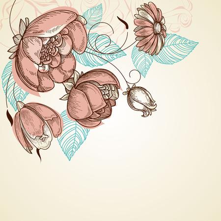 Floral background, corner decoration, pink rose bouquet  Illustration