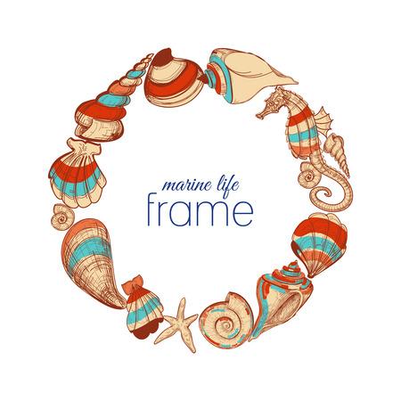 Marine life round frame  Vector