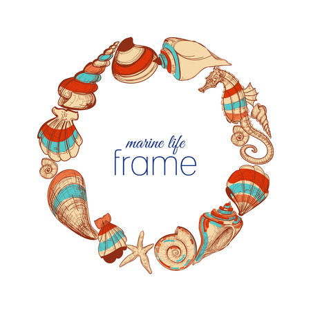 cockle: Marine life round frame  Illustration