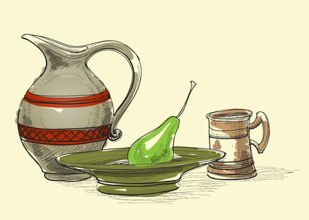 Still life, jug, plate and pear, cup. Kitchen items decoration