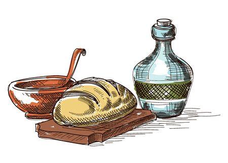 La comida y bebida composición, bodegón decoración